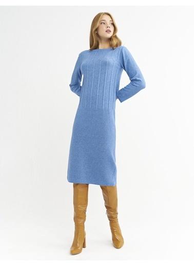BGN Mavi - Örgü Detaylı Triko Elbise Mavi